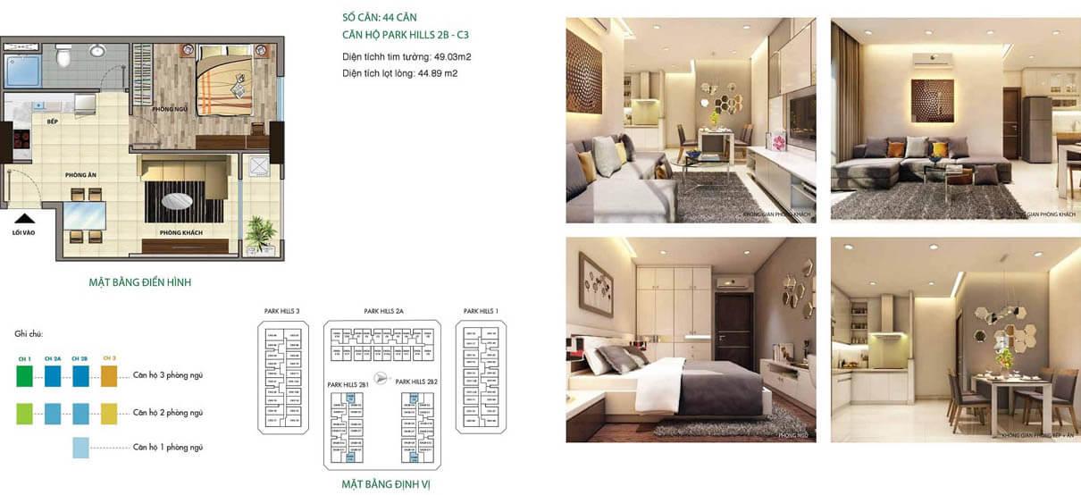 Căn hộ Cityland Park Hills 1 phòng ngủ