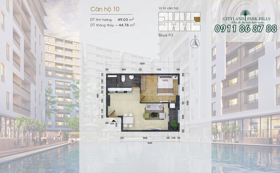 Bán căn hộ Chung cư Cityland Park Hills| căn 1 phòng ngủ lầu cao