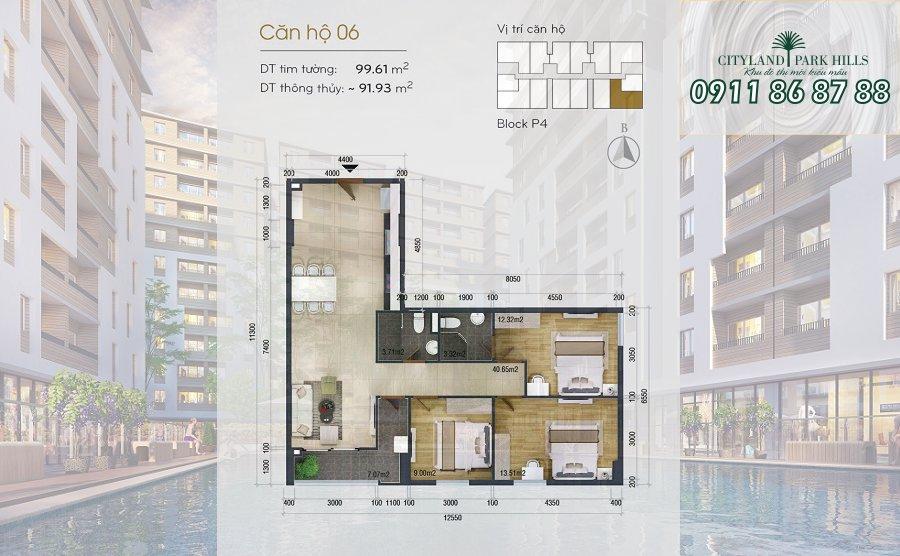 Bán căn hộ Chung cư Cityland Park Hills  căn hộ 3pn view hồ bơi