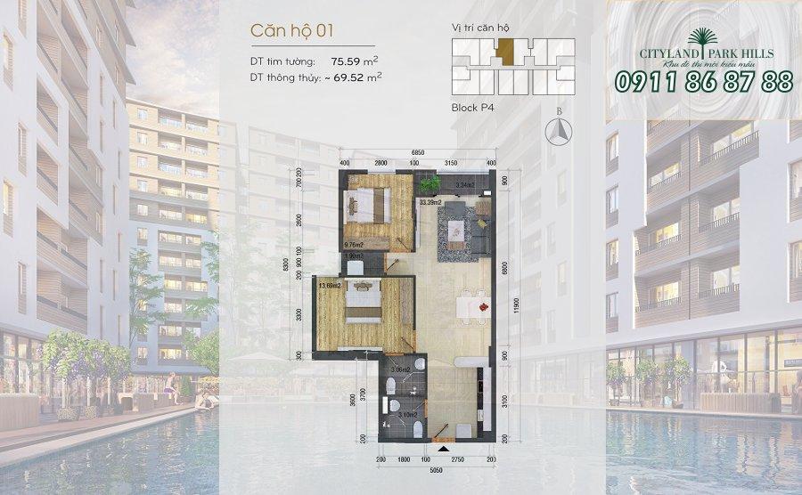 Bán căn hộ Chung cư Cityland Park Hills| căn hộ Gò Vấp hướng bắc