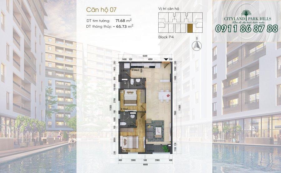 Bán căn hộ Chung cư Cityland Park Hills| căn 2 phòng ngủ lầu thấp