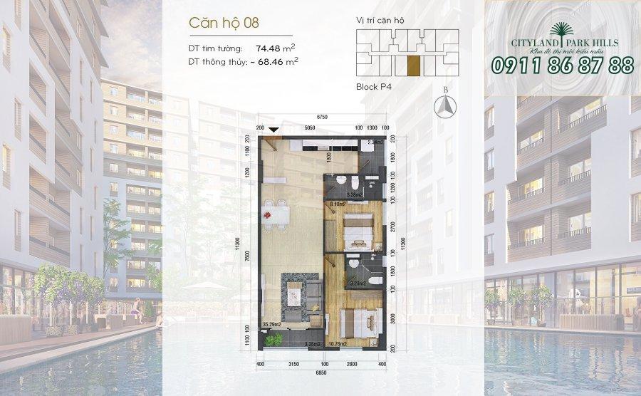 Bán căn hộ Chung cư Cityland Park Hills| căn hộ view hồ bơi lầu 1