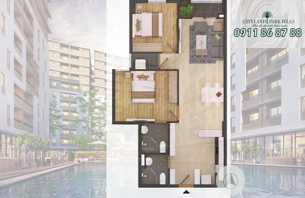 Bán căn hộ P4 1103 Cityland Park Hills lầu 11 giá tốt hướng nam