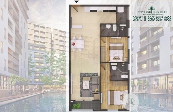 Bán căn hộ P4 - 01.08 Cityland Park Hills lầu 1 nhận nhà tháng 10/2019