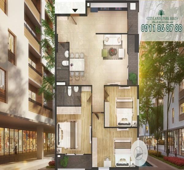 Bán căn hộ Cityland Park Hills Tháp P2, 3PN, tầng cao view đẹp