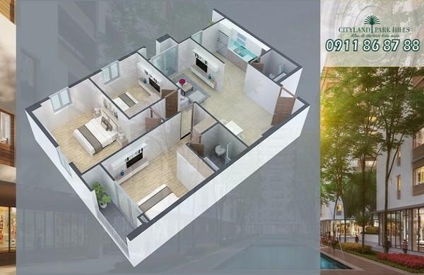 Bán căn hộ lầu 7 Cityland Park Hills Gò Vấp P5 - 7.18 với 3 phòng ngủ